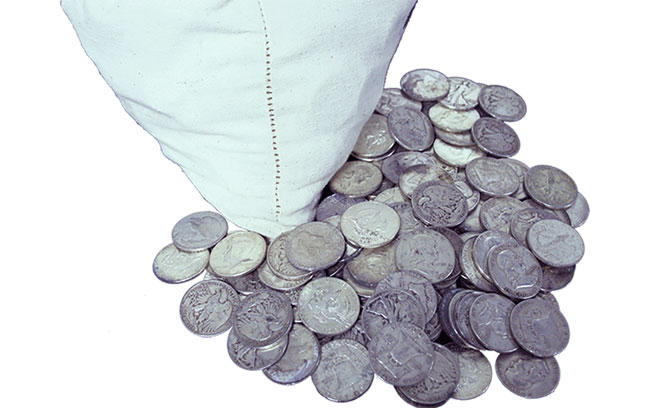 bag of 90% silver coins