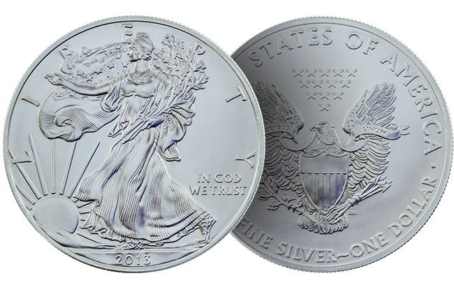 an image of the front (obverse) and back (reverse) of a 2019 American Silver Eagle bullion coin