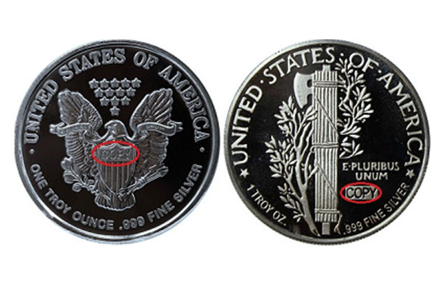 an image showing the back (reverse) of 1 troy ounce Walking Liberty design and Mercury Dime design 1 oz silver rounds, displaying the required COPY stamp